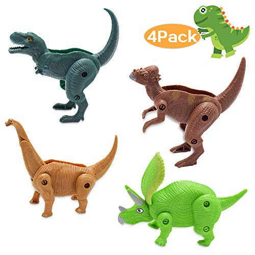 Dinosaur Toys, Toys for 4-5 Year Old Boys, Toddler Educational Deformation Kid Toys for Learning Dinosaurs History, Dino Hatching Easter Eggs Toys for Age 2, 3, 4, 5, 6 Boys / Girls (Foldable, 4 Pack) -