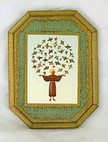 St. Francis with birds Florentine Plaque, 4.75x6inches. Made in Italy by GSV001