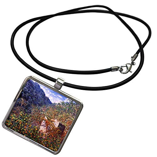 (3dRose VintageChest – Masterpieces - Claude Monet – The Valley Sasso in Bordighera - Necklace with Rectangle Pendant)