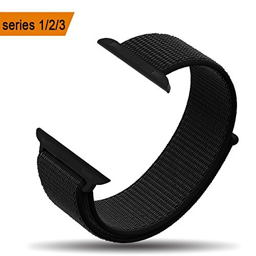 amBand Compatible for Apple Watch Sport Loop Band 42mm, Lightweight Breathable Nylon Replacement Band for Apple Watch Series 1, Series 2, Series 3, Sport, Edition-Dark Black
