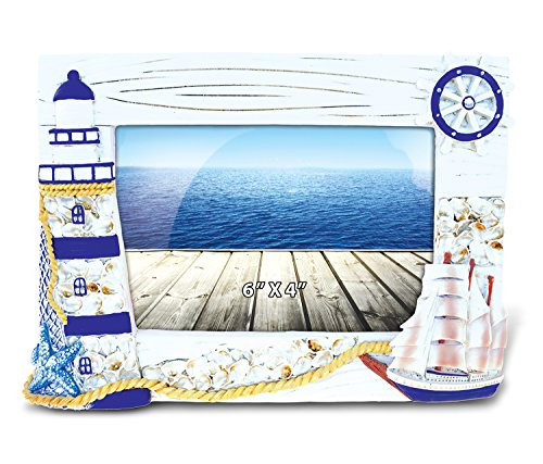 Resin Antique Ships Wheel (CoTa Global Nautical Blue Ship And Lighthouse Resin Photo Frame - 6 x 4 inch - Handpainted and Handcrafted - Home Decor Accent - Bedroom, Living Area, Children's Room, Gift - #9532)