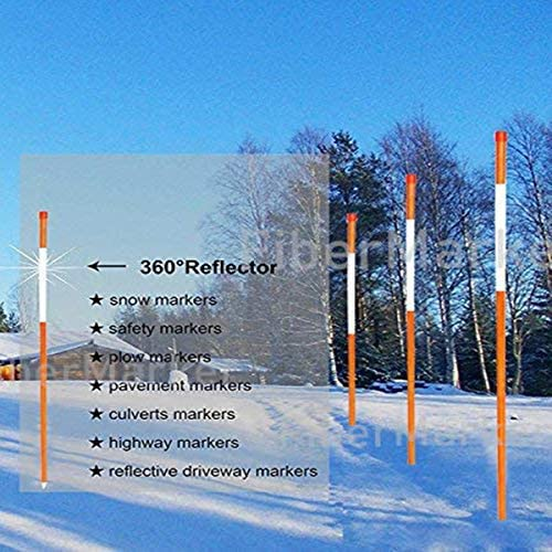FiberMarker 48-Inch Reflective Driveway Markers 50 Pcs Driveway Poles for Easy Visibility at Night 1//4 Inch Diameter Orange