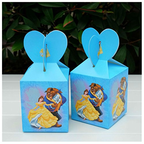 12PCS Candy Box Cartoon Theme Birthday Party Supplies Baby Shower Gift Boxes (beauty and the beast)