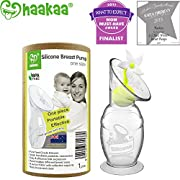 Haakaa Breast Pump with Suction Base and Flower Stopper 100% Food Grade Silicone BPA PVC and Phthalate Free (4oz/100ml) (White)