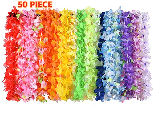 XADP 50 Counts Hawaiian Leis Necklace Tropical Luau Hawaii Silk Flower Lei Bulk Party Favors,Kids or Adults Luau Party Decorations and Party -