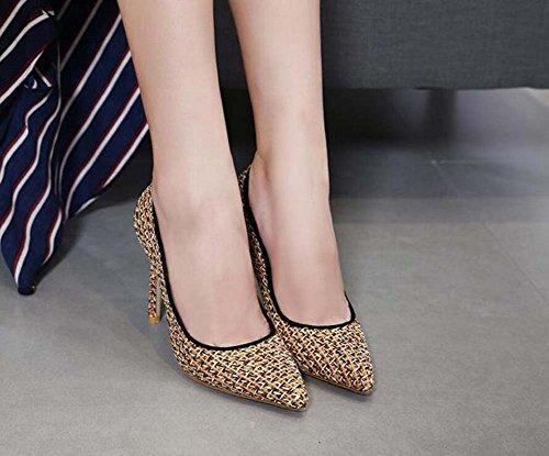 2017 de Eu 34 color 40 Scarpin Tamaño Match puntiagudas Size zapatos de zapatos Mujeres Color nuevos 35 otoño vestir zapatos de Lace 10cm tacón dedo Stiletto Ol Pump casuales alto Gold F86AqUxgFw
