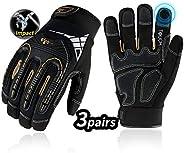 Vgo 3Pairs High Dexterity Heavy Duty Mechanic Glove,Rigger Glove(Anti-Vibration,Anti-Abrasion,Touchscreen,Blac