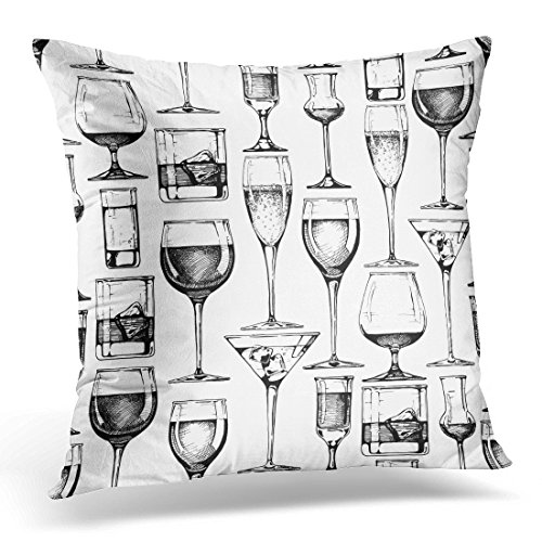 UPOOS Throw Pillow Cover Black Glass Pattern with Different Glasses Goblets and Wineglasses in Old Fashioned Style on White Hand Decorative Pillow Case Home Decor Square 18x18 Inches Pillowcase Cognac Pillow