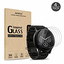 (Pack of 4) Tempered Glass Screen Protector for Moto 360 1st and 2nd Gen 46mm Smart Watch, Akwox [0.3mm 2.5D 9H] Premium Clear Screen Protective Film for Motorola Moto 360 46mm