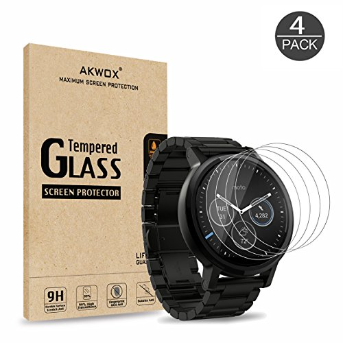 Price comparison product image (Pack of 4) Tempered Glass Screen Protector for Moto 360 1st and 2nd Gen 46mm Smart Watch, Akwox [0.3mm 2.5D 9H] Premium Clear Screen Protective Film for Motorola Moto 360 46mm