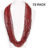 (72 Pack) 33'' Inch Round Metallic Mardi Gras Party Necklace Beads (Red)