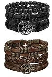 FIBO STEEL 6 Pcs Leather Bracelet for Men Review and Comparison