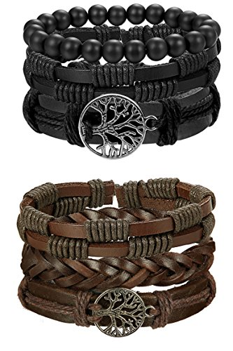 FIBO STEEL 6 Pcs Leather Bracelet for Men Women Tribal Bracelets Leather Wristbands Adjustable SMS from FIBO STEEL