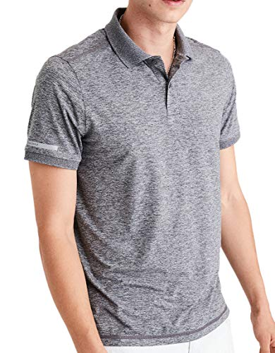 American Eagle Outfitters Mens Short Sleeve Sport Polo Shirt Melange Grey (XX-Large) ()