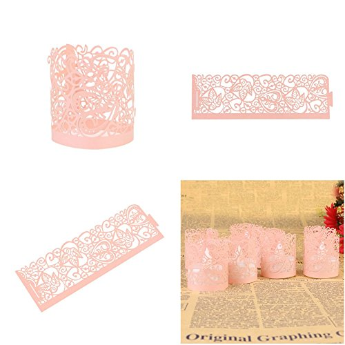 Candle Wraps, Sevend 50 Pieces Tea Light Wraps and Candles Holders for Weeding, Table, Gift, Outdoor (Pink Candle Wraps)
