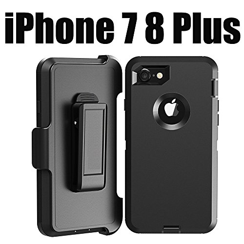 iPhone 8 Plus Defender Case: LongRise iPhone 7 Plus Shockproof 4 Layer Defender Belt Clip Case for iPhone 7 Plus 5.5 inch (Black)