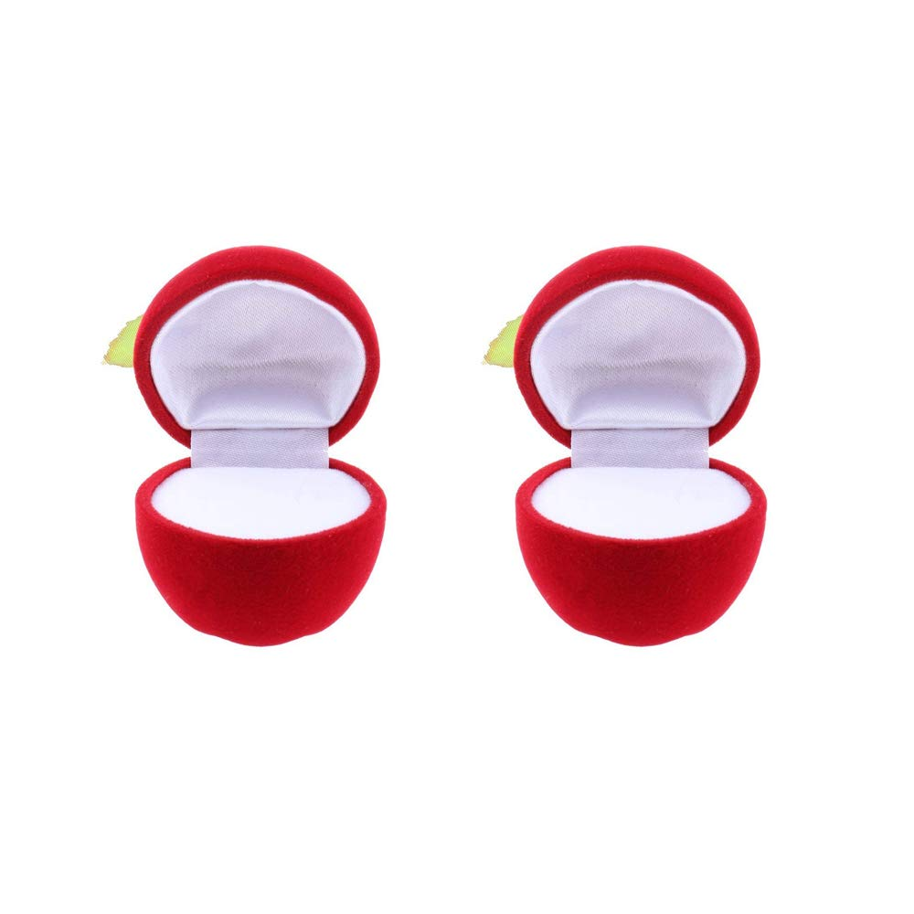 Xeminor Apple Shape Box Ring Case Gift Box Trinket Case Jewelry Organiser Applicable to All Kinds of Jewelry 2pcs red