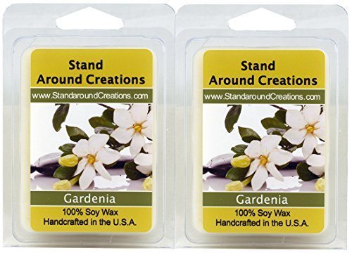 100% All Natural Soy Wax Melt Tarts - Set of 2 - Gardenia: This exquisite aroma of tropical gardens with a top note sweet green and a floral body intense and rich truly capturing the natural aroma found in this beautiful flower. Made with natural essential oils. - 3ozs./ea. - Naturally Strong Scented