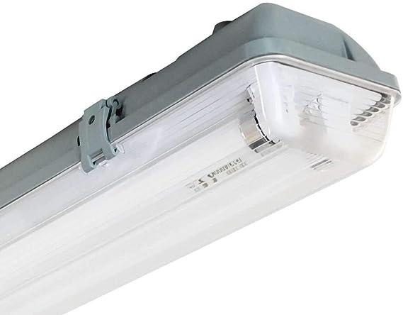 Pantalla Fluorescente Estanca Tubo T8 G13 2x18W 2500lm 4000K 7hSevenOn: Amazon.es: Iluminación