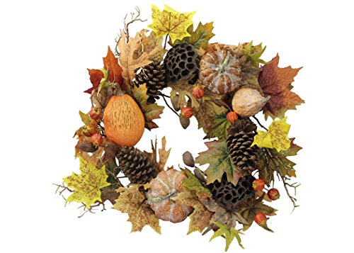 - Admired By Nature GFW6010-NATURAL Artificial Lotus Pod/Pumpkins/Pine Cone/Maple Leaves/Berries Fall Festive Harvest Display Wreath, 24