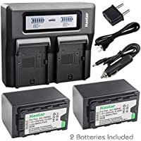 Kastar Fast Dual LCD Charger + 2x Battery for Panasonic AG-VBR59 AG-VBR89G AG-VBR118G and AG-DVX200PJ AG-3DA1 AG-AC8 AC8EJ AG-AC8PJ AG-AC30 AG-DVC30 HC-X1000 HC-X1 HDC-Z10000 (Z10000GK, Z10000P)