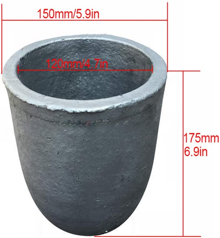 Dumadf Foundry Silicon Carbide Graphite Crucibles Cup Refining Gold Silver Copper Brass Aluminum for 8KG Copper or 3KG Aluminum