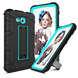 Samsung Galaxy Tab E Lite 7.0 Case, Galaxy Tab 3 Lite 7.0 Case, Elegant Choise Shockproof Heavy Duty Armor Defender Protective Cover Case with Stand for SM-T110/SM-T111/SM-T113/SM-T116 (Black/Blue)