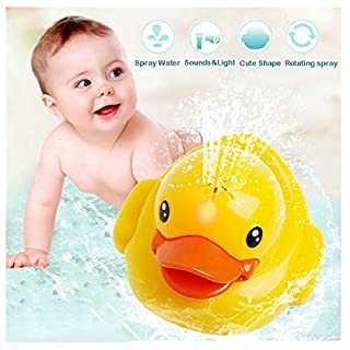 EpicGifts New Baby Bath Toys - Yellow Duck Bathtub Light Up Bath Toy - Sprinkler Water Fountain Spray Toy with Sound