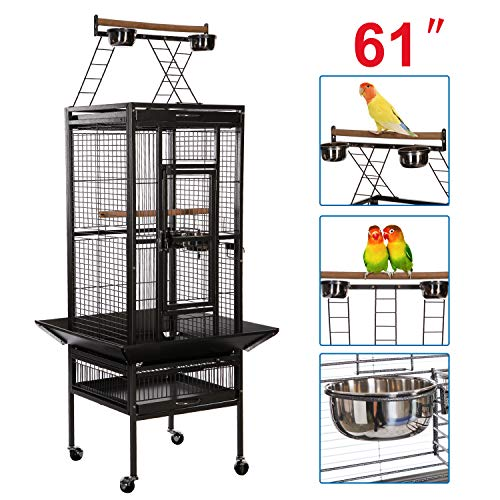 VECELA Bird Cage Wrought Iron Flight Cage Parrot Cage 61 Inch Large Bird Cage for Parrot Finch Macaw Cockatoo Cockatiel Birdcage Large Pet House with Rolling Trolley Metal Wheels Black ()