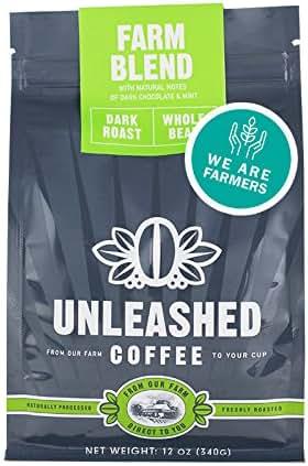 Unleashed Coffee - Farm Blend - Dark Roast, Whole Bean, Strong Coffee, Single Origin, Direct Trade, From the Farmer
