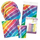 Tie Dye Themed Birthday Party Plates and Napkins (Deluxe)