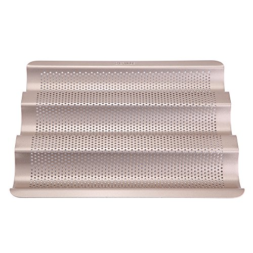 Baguette Baking Tray, 10inch French Bread Pan Baguette Baking Tray Perforated 3-slot Non Stick Bread Baking Mould for Bakes French-bread, Breadstick.