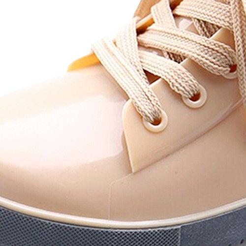 Dear Time Women Lace Up Rain Boots Beige XsOZT