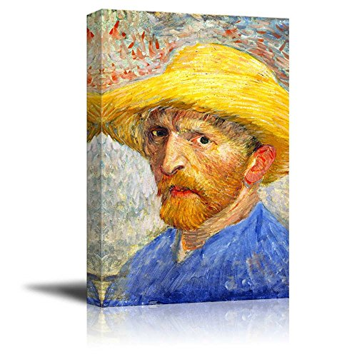Self Portrait with Straw Hat by Vincent Van Gogh Print Famous Painting Reproduction