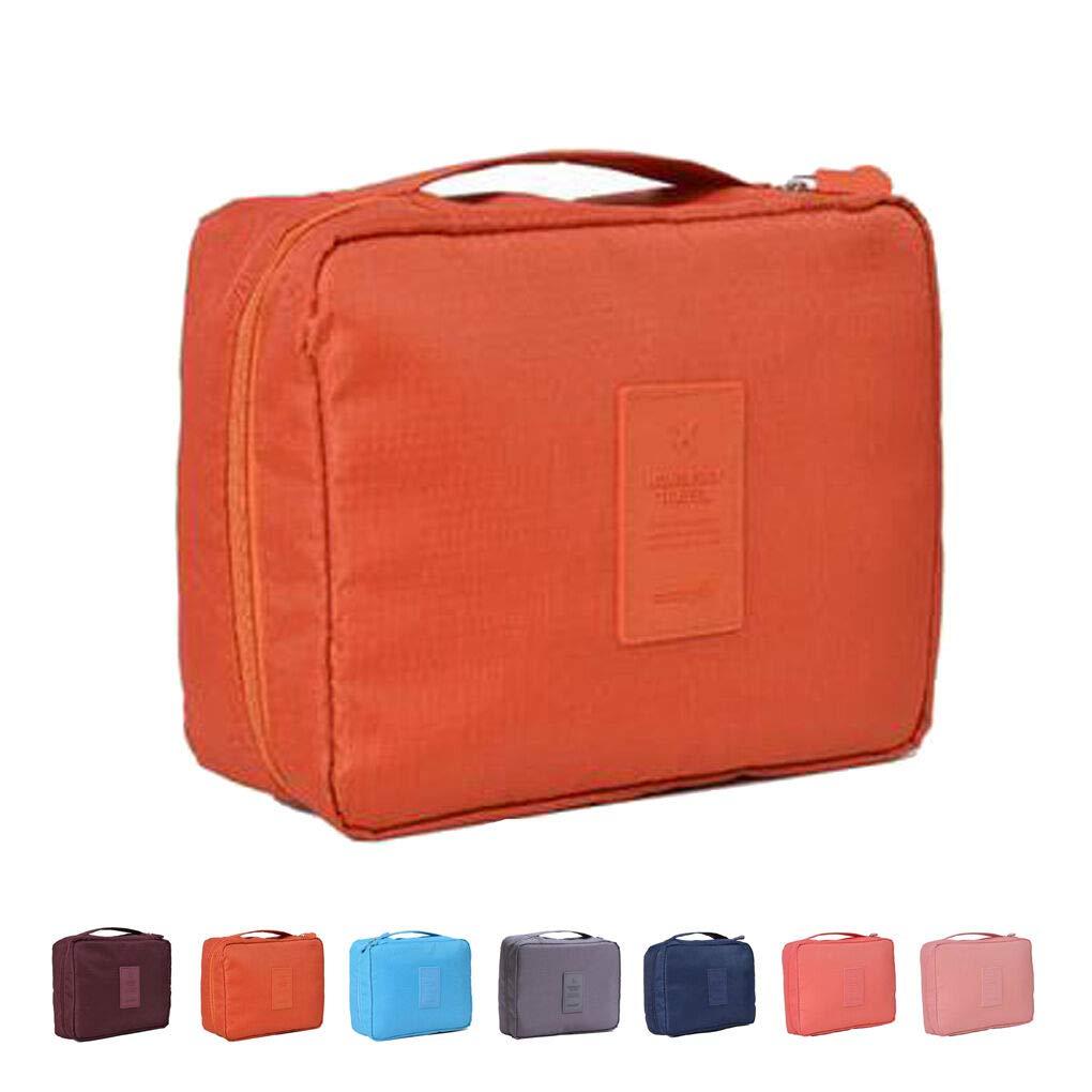 Toiletry Bag Travel Makeup Cosmetic Bag Sturdy Flat Storage Case Organizer for Women Girls Men (Orange)