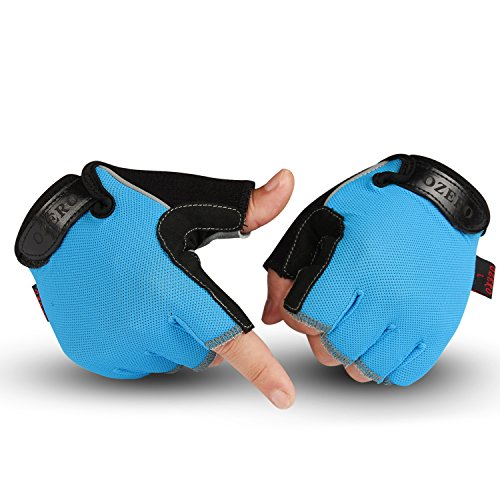 OZERO Cycling Gloves - Fingerless Workout Glove for Women and Men with Deerskin Leather Palm and Silica Gel Pads - Sweat-absorbent & Perfect Grip for Hiking/Driving/Shooting/Motorcycle (Blue,Small)