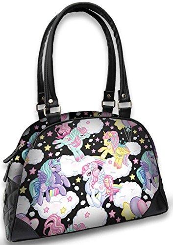 Liquorbrand Pegasus Unicorns Pony Rainbows Cartoon Vegan Black Handbag