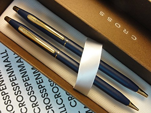 Cross Made in the USA Classic Century Matte Blue and 23KT Gold Appointments BallPoint Pen and 0.5MM Pencil Set . Made in Lincoln RI , USA by Cross