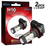 Yorkim Super Bright 50W High Power H10 9145 9005 Size Projection LED Bulbs with 10 CREE Chips for Fog Lights and Day -Time Running Lights, Voltage 9-30V – Pack of 2, White