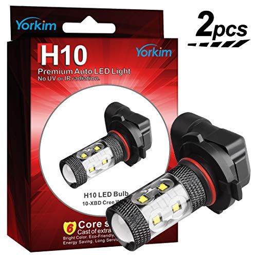 Yorkim H10 9145 Led Fog Light Bulbs White 6500k Extremly Bright CREE Chipsets Max 50W High Power, H10 Led Fog Light Bulbs, H10 9140 9145 9050 9155 LED Bulbs for Fog Lights or DRL (Pack Of 2) ()