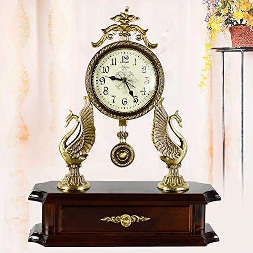 MCC Desk table clock Solid wood pure copper accessories European antique modern minimalist atmosphere creative fashion personality gift decoration bedroom living room restaurant , coffee by zhuozhong