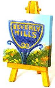 """Hand Painted Miniature Art Painting Of """"The California Beverly Hills Sign"""" On A 2.9"""" x 2.9"""" Stretched Wooden Framed Canvas + FREE Easel"""