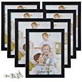Picture Frames 8x10 Photo Frame Set Wall Tabletop, Black, Pack of 7