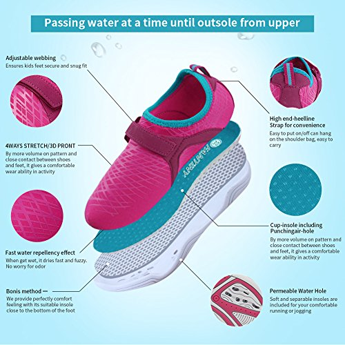Fantiny Boys & Girls Water Shoes Lightweight Comfort Sole Easy Walking Athletic Slip on Aqua Sock(Toddler/Little Kid/Big Kid) DKSX-Pink-33 by CIOR (Image #2)