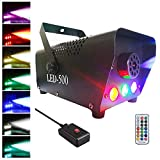 Easife 2019 NEW 500W Wireless Remote Control Professional Haze Fog Machine with Lights LED Cold Smoke Maker Chiller Portable Fog Generator with Colorful Light Smoke Fog Ejector for Stage Party Club