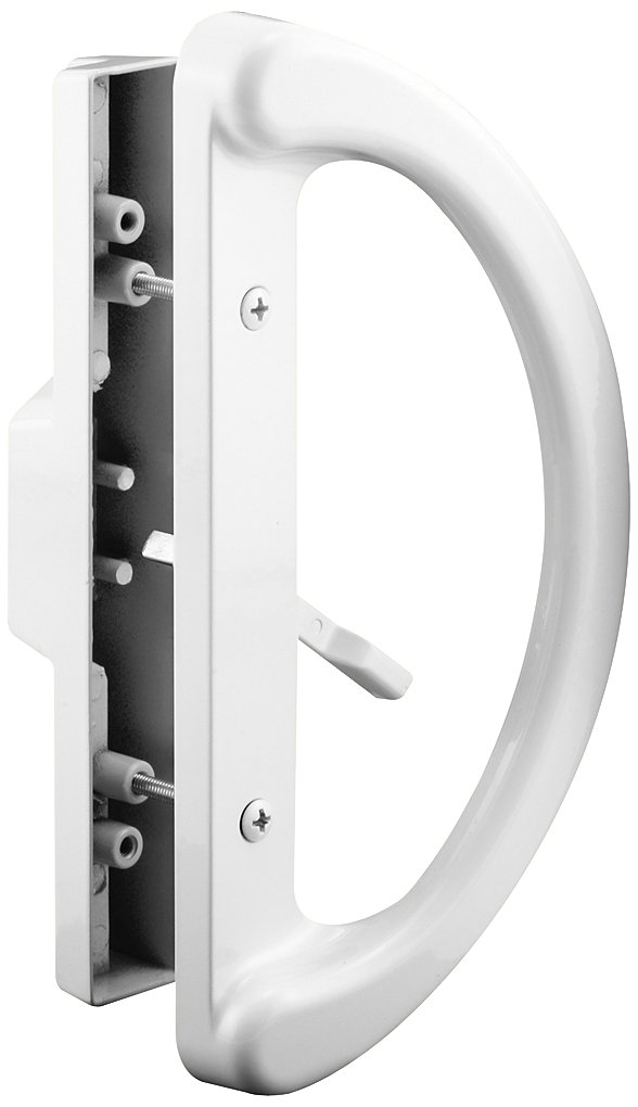 """Prime-Line C 1225 Sliding Patio Door Handle Set - Replace Old or Damaged Door Handles Quickly and Easily – White Diecast, Mortise Style, Non-Keyed (Fits 3-15/16"""" Hole Spacing)"""