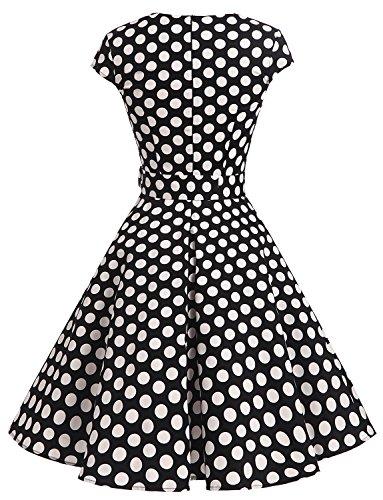 Dressystar Vestido De Estilo Vintage Corto Con Manga Corta Con Cinturón Black White Dot B