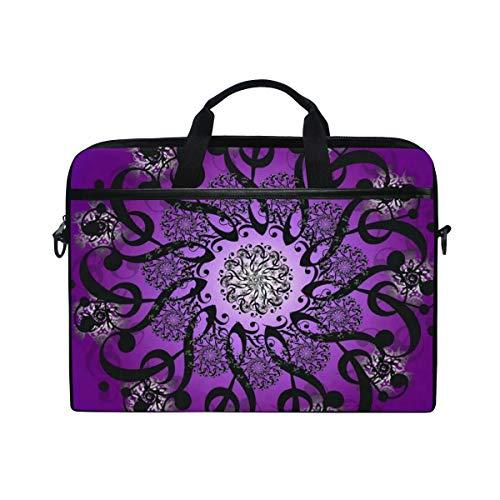 Black Purple Mandala 14 15inch Laptop Case Laptop Shoulder Bag Notebook Sleeve Handbag Computer Tablet Briefcase Carrying Case Cover with Shoulder Strap Handle for Men Women Travel/Business/School ()