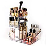 Acrylic Makeup Organizer Storage Tray 360 Degree Rotating Clear Adjustable Cosmetic Storage with Layers with Large