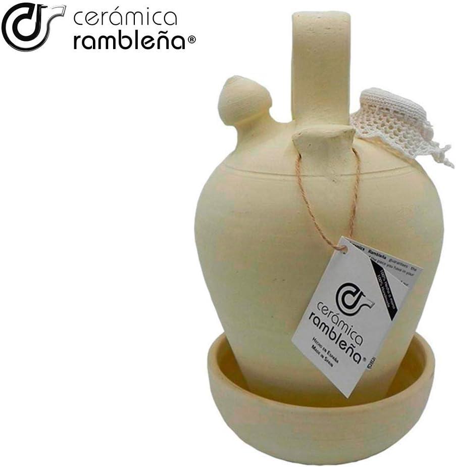 Botijo de Barro Tradicional de La Rambla CER/ÁMICA RAMBLE/ÑA | 100/% Hecho a Mano C/órdoba 3.25 litros Eco Accesorios incluidos